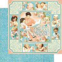 4 Page Graphic 45 Precious Memories Vintage Baby Child Blue Pink Cardstock Paper