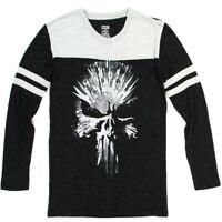 Marvel Punisher Mens' Black Confetti Long Sleeve Graphic Skull Logo T-Shirt