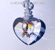 m/w Swarovski Heart + Sterling LUNG CANCER Ribbon Suncatcher Lilli Heart Designs
