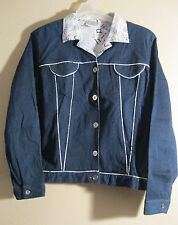 St. Germain Paris XL Denim Coat Jacket New Blue White Cotton  CHIC!! [d74]