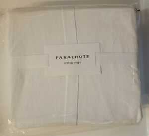 Parachute Brushed Cotton Fitted Sheet White Size Queen New