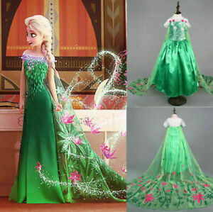 Elsa Green Fancy Dress Princess Snow Queen  KidsGirl Costume Gift Party 2021 UK