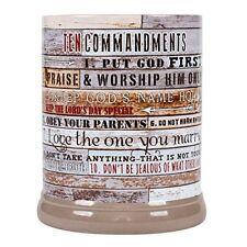 Ten Commandments Pallet Wood Look Ceramic Stone Jar Warmer