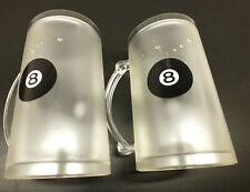 2 Freezer Frosty 8 ball Mugs 14oz Cold Beer Stein Chilled Frozen Drink Cup