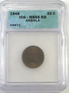 BU GEM 1948 20 Centavos ANGOLA ICG MS65RB KM#71. #41
