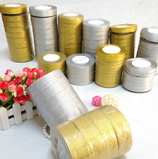 3mm -50mm x 25 Yard Roll of Gold silver Metallic Organza Ribbon Craft  Christmas