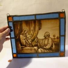 19thC Painted & Stained Glass RELIGIOUS Panel Really Fine Quality Painting