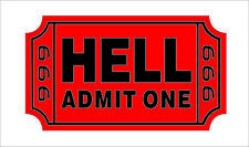 Ticket To Hell Hard Hat Sticker Helmet Decal Tool Box 666 Motorcycle Car Decor
