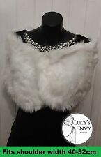 White Faux Fur Wrap SECOND Shrug Bolero Bridal Shawl by Lucy's Envy W109