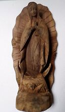 "Large 20"" Mexican Folk Art Santo Saint Virgin of Guadalupe Wood Carving Mesquite"