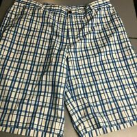 Adidas Golf shorts 38 blue gingham White Mens