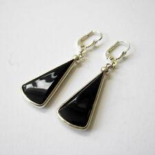 Paar schwarze Glasohrringe/Earrings mit Silber - ART DECO 30er Jahre Deutschland