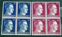 WW2 GERMAN REAL 3rd REICH ERA  2 X BLOCK OF 4 STAMPS A. HITLER MNH