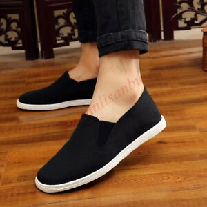 Traditional Mens Pull on Old Beijing Shoes Retro Breathable Kung Fu Tai Ji Shoes