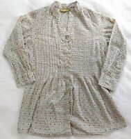 Rock Flower Paper Small Cotton Blouse Ivory Gray Green Dot Button Up Shell