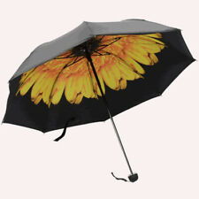 Woman Umbrella Rain Three-folding 3D Flower Print Sunny and Rainy Protection
