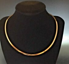 Estate 14K Yellow Gold Flat Omega Choker Collar Chain Necklace 20.6 Grams 16""