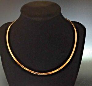 "Estate 14K Yellow Gold Flat Omega Choker Collar Chain Necklace 20.6 Grams 16"""