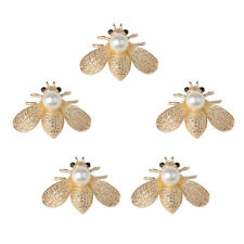 5x Bee Shape Alloy Crystal Pearl Flatback Buttons Scrapbooking Embellishment