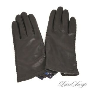 NWT Polo Ralph Lauren Black Nappa Leather Cashmere Mix Lined Whipstitch Gloves L