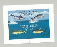 Marshall Islands #127a Game Fish 4v on 1v Imperf Proof M/S of 4