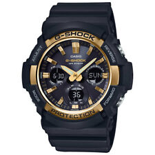 -NEW- Casio G-Shock Solar Powered Black with Gold Tone Bezel Watch GAS100G-1A