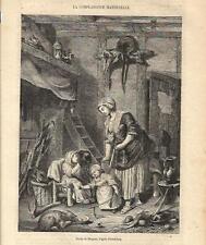 Stampa antica MAMMA CON BAMBINI E GATTO 1864 Old antique print