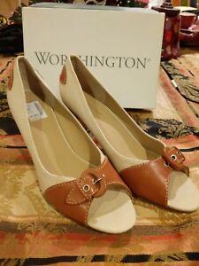 "Worthington 10M Ivory/Brown 3"" Heel PEEP TOES Pump Shoe.Only $49.99 Free Ship!!!"