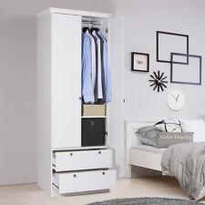 Kleiderschrank Landwood Drehtürenschrank in weiß mit 2 Schubkästen Landhausstil