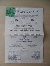 October 1969 - Ethel Barrymore Theatre Playbill w/Ticket - The Front Page - Ryan
