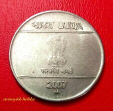 India 2 rupees 2007 steel Mudra issue rare die doubling (double die) error coin