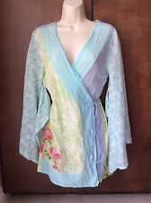 Anthropologie Eloise Womens Floral Kimono Robe 100% Silk Cotton Size S/M