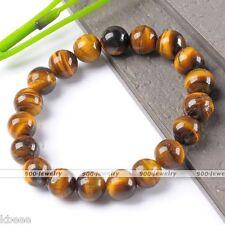 Natural Tiger's Eye Stone Gemstone Mala Bead Stretchy Bracelet Bangle Prayer