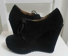 DUNE Women's Ankle Boots Size 7 UK 40 Suede Leather Platform Black Blogger Chic