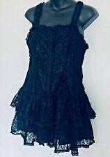 FUNHOUSE Black Top / Dress Festival Gypsy Boho Lace Ruffle Grunge / Size M/L