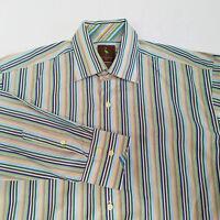Tailorbyrd Mens Shirt Medium Striped Cotton Button Down Green White Blue Brown