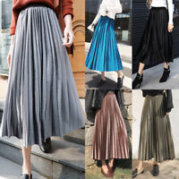 Fashion Women Vintage  Long Midi Pleated Skirt Stretch High Waist Casual Dress