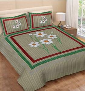 Soft Cotton 500TC Bed sheet With 2 pillow Cases Set Queen (90*100)