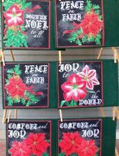Handcrafted Quilted Christmas Holiday Fabric Place Mats Set of 6 Poinsettia