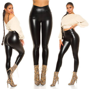 Damen High Waist Wetlook Lederlook Leggings Kunstleder Optik mit Taschen