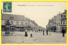 cpa Picardie 60 - GRANDVILLIERS (Oise) Place BARBIER Animé Commerces Fontaine