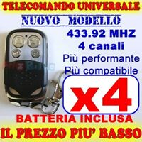 UNIVERSALE TELECOMANDO MHZ 433 CANCELLO 4 GARAGE PER FAAC CAME FADINI hw