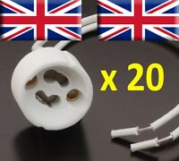 20 x GU10 Lamp Holder Mains Base Connector Downlighter Fitting UK supplier bulb