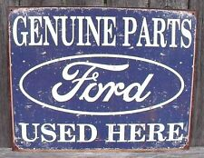Sign Ford Genuine Parts Used Here Vintage Blue Metal Collectible New 12 1/2x16in