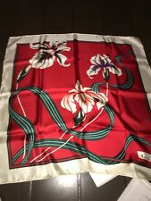GUCCI ivory Pink & Red border FESTIVAL FLORA bandana silk scarf Authentic