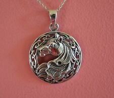 925 Sterling Silver Animal Equestrian Mustang Horse Celtic Charm Necklace