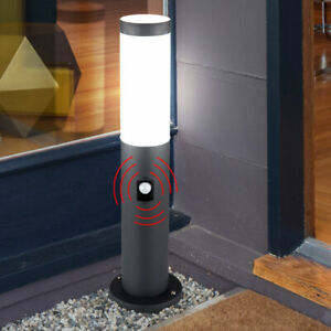Außen Steh Leuchte Garten Wege Edelstahl Sockel Stand Lampe Bewegungsmelder