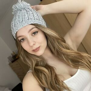 Sparkly Grey Bobble Hat Knitted Pompom Winter Cosy Warm Knit Chunky Fluffy