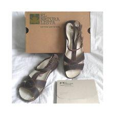 El Naturalista Sandals Slides Shoes Strappy Brown Flats Women's 7.5-8 / 38 New