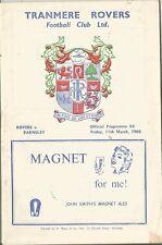 Football Programme - Tranmere Rovers v Barnsley - Div 4 - 11/3/1966